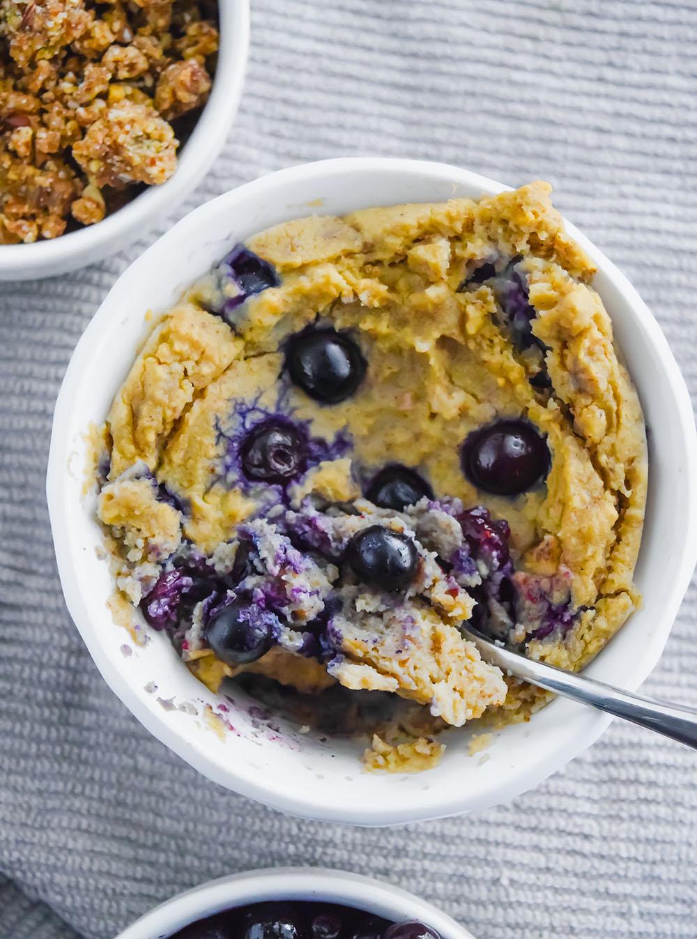 Vegan Blueberry Vanilla Protein Mug Cake - Sweet Vegan Sara